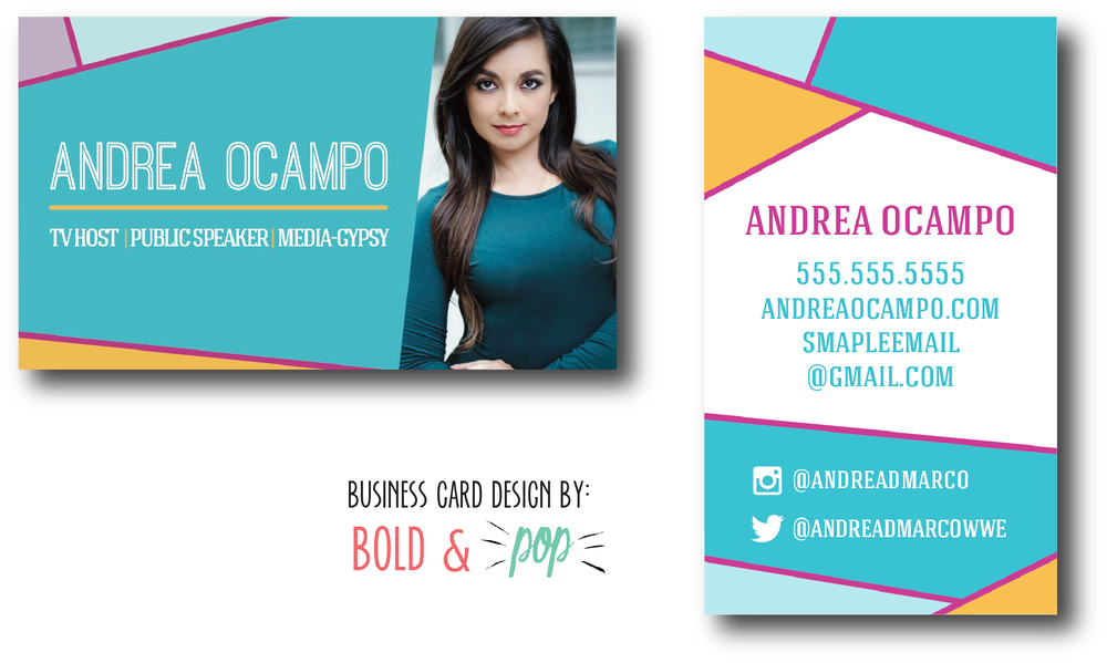 Bold & Pop  : Andrea Ocampo Collateral Project -- Business Card Design