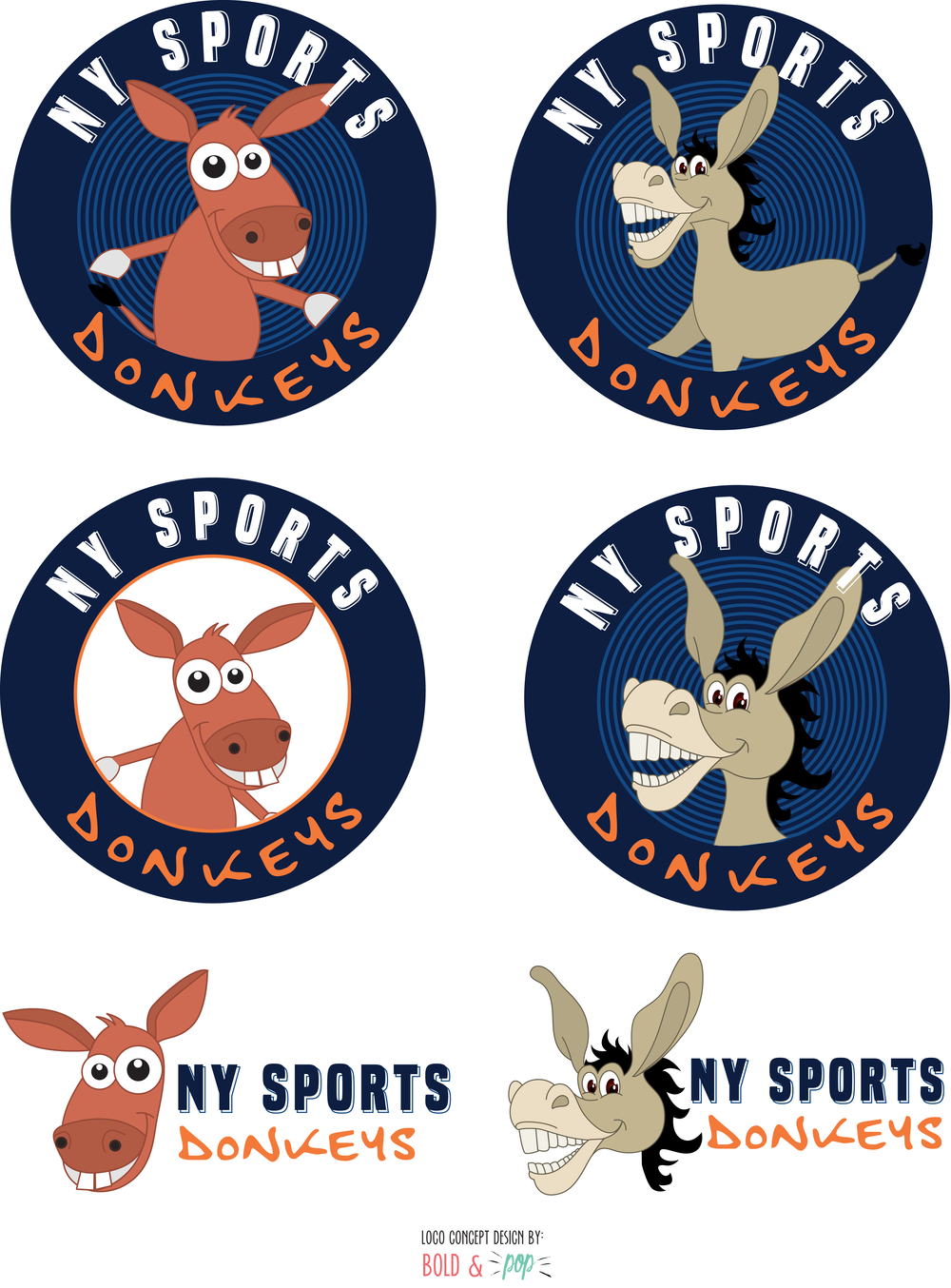Bold & Pop : NY Sports Donkeys Branding Design