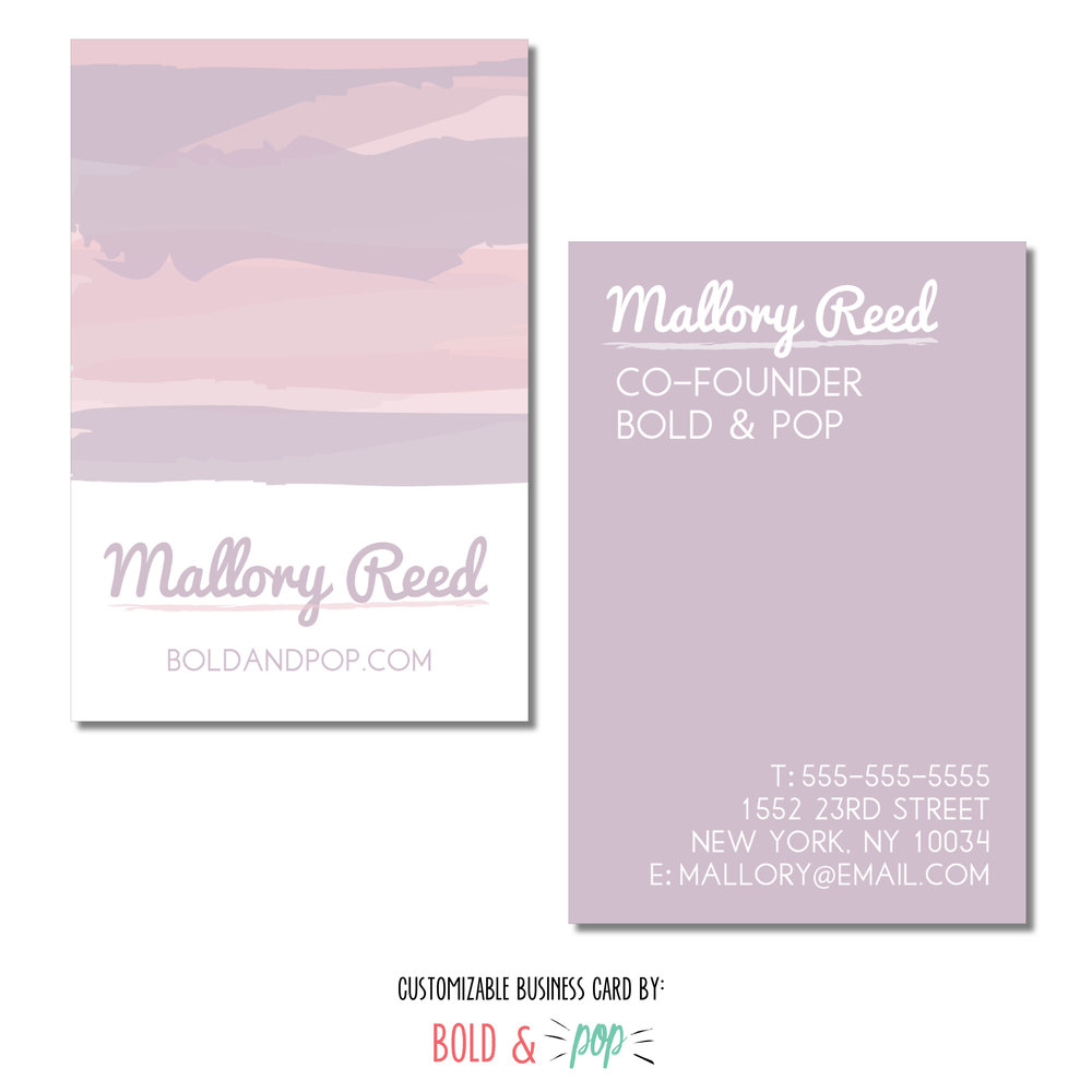 Pastel Watercolor Business Card Template Bold Pop Social Media
