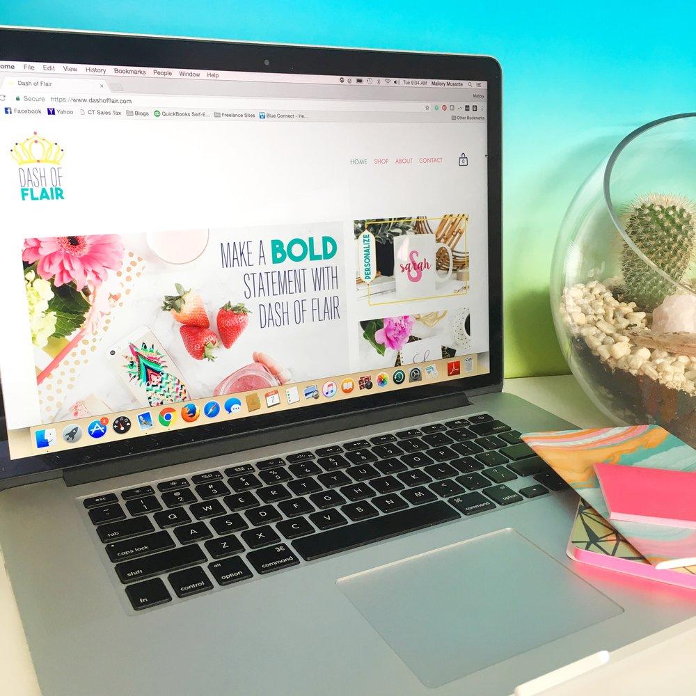 Dash of Flair <br> Branding & Ecommerce <br> Website Design