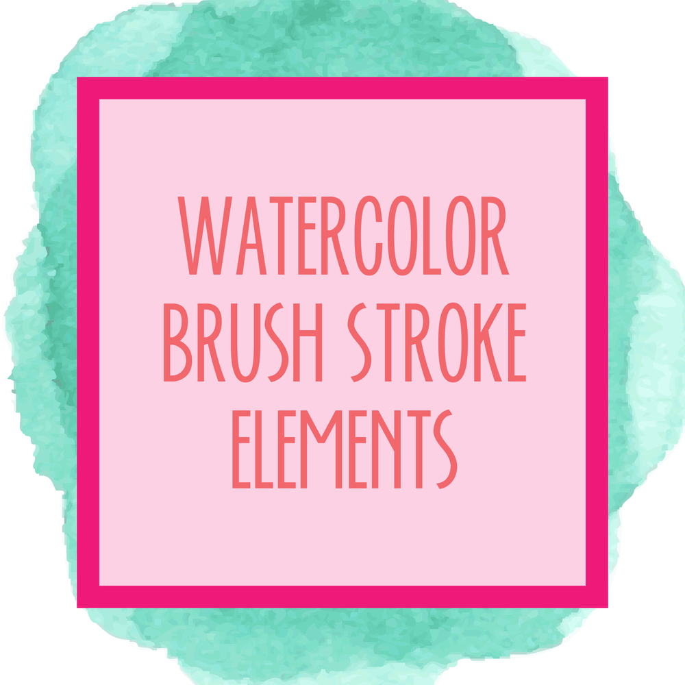 Bold & Pop Bold Boss Resource Library : Watercolor Brush Stroke Elements