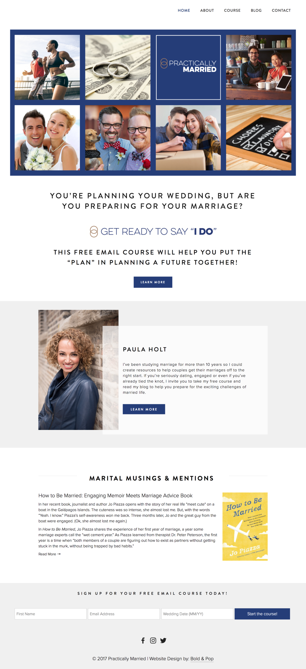 Bold & Pop : Practically Married Squarespace Website Design