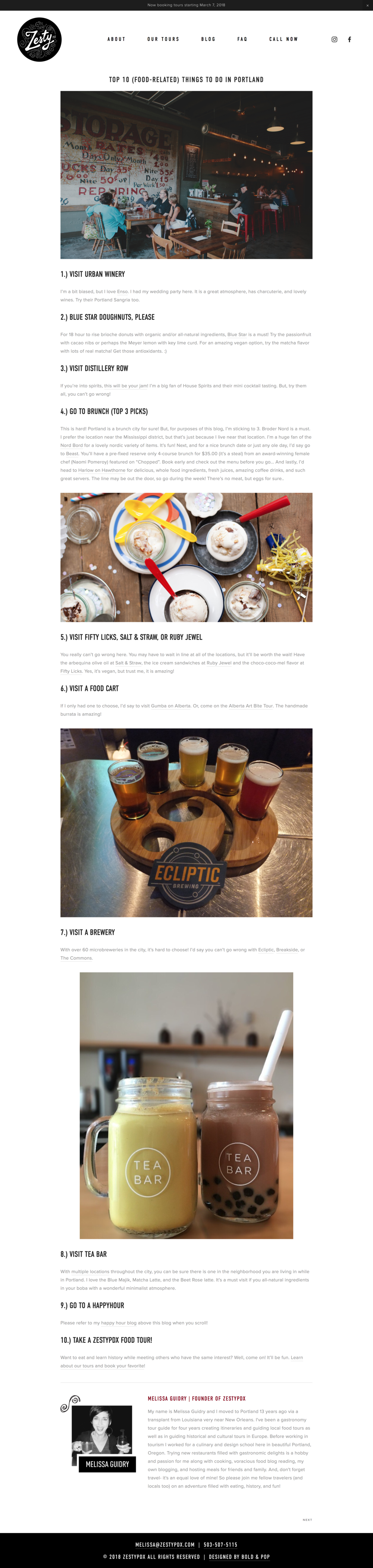 Bold & Pop : ZestyPDX Portland Food Tours Squarespace Website Design