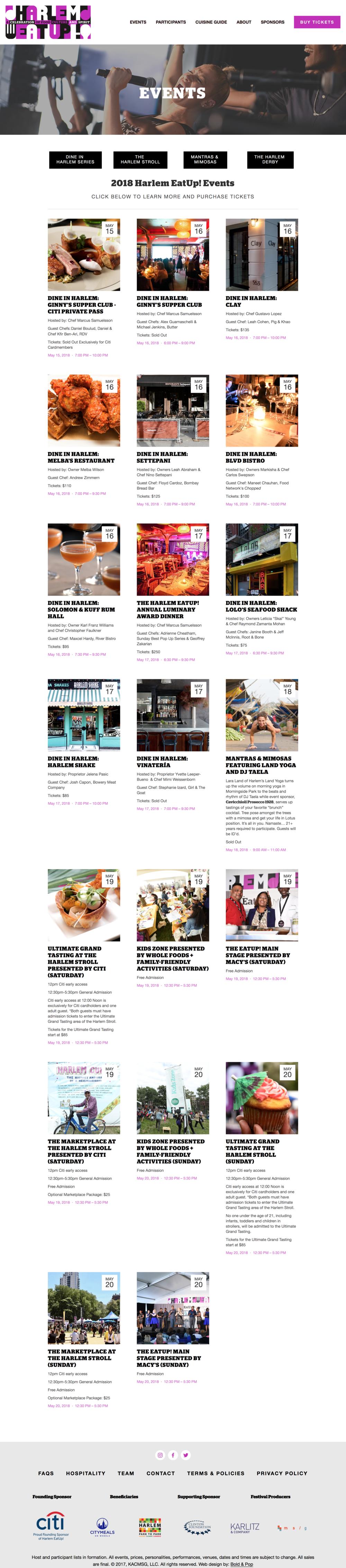 Bold & Pop : Harlem EatUp! Squarespace Website Design