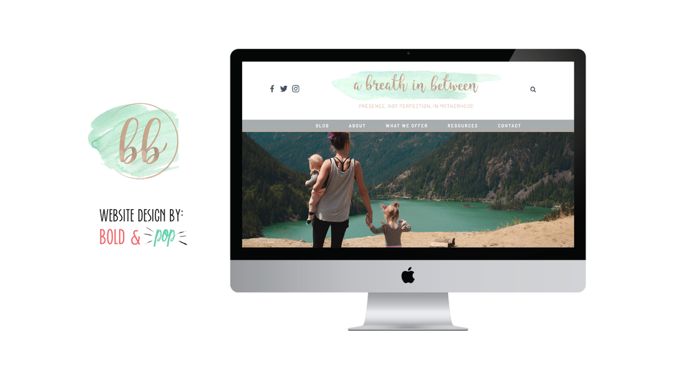 Bold & Pop : A Breath in Between Squarespace Mom Blog Website Design