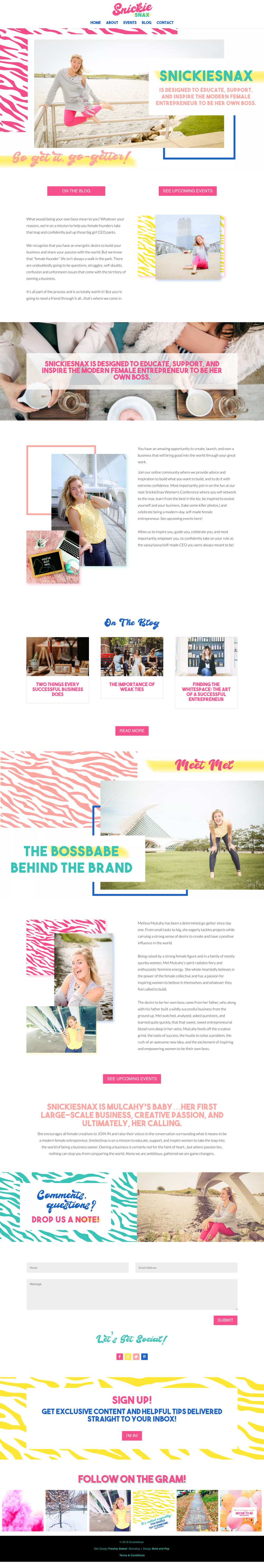 Bold & Pop : SnickieSnax Branding Logo Design, Website Graphics, Mailchimp Template Design and Social Media Consulting Case Study