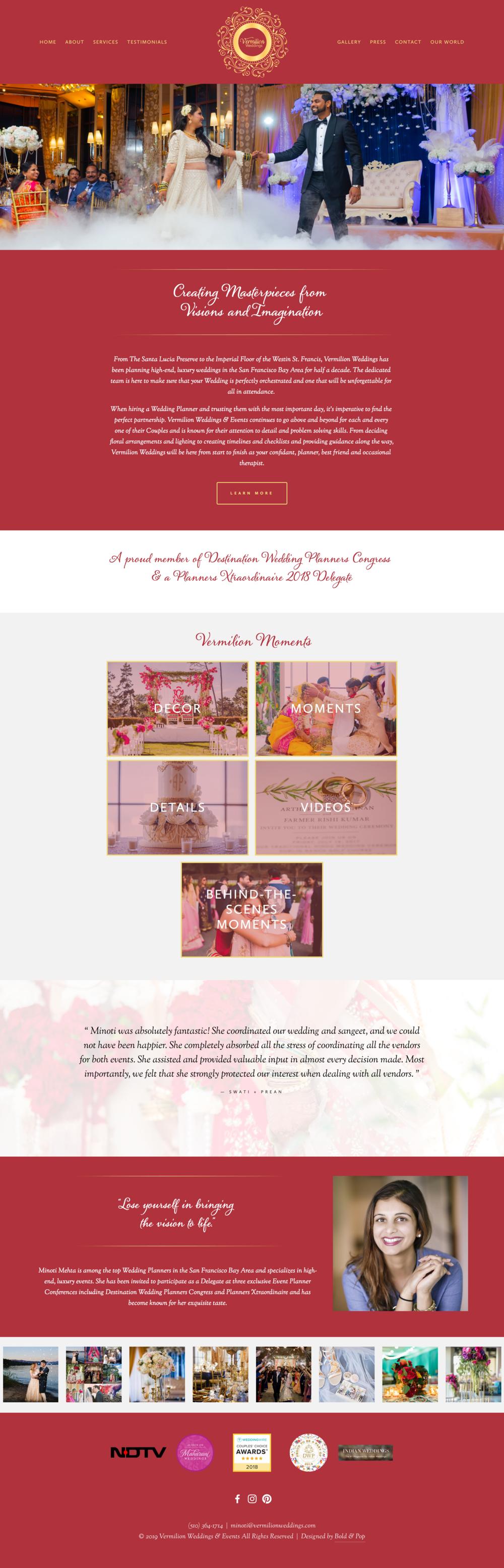 Wedding & Events Planner Website Design