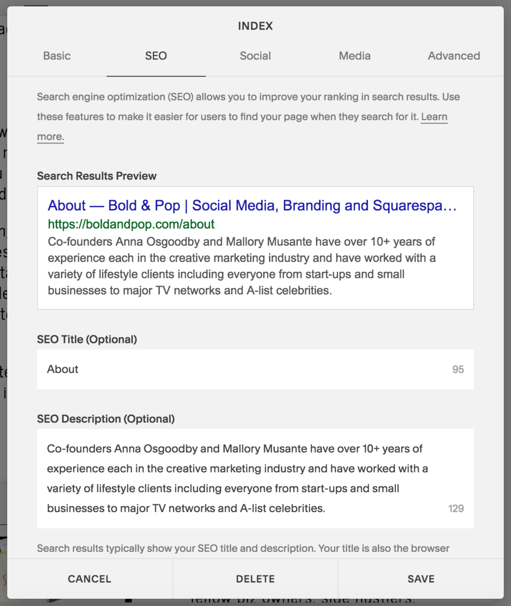 Bold & Pop : SEO Setup Guide for Your Squarespace Website