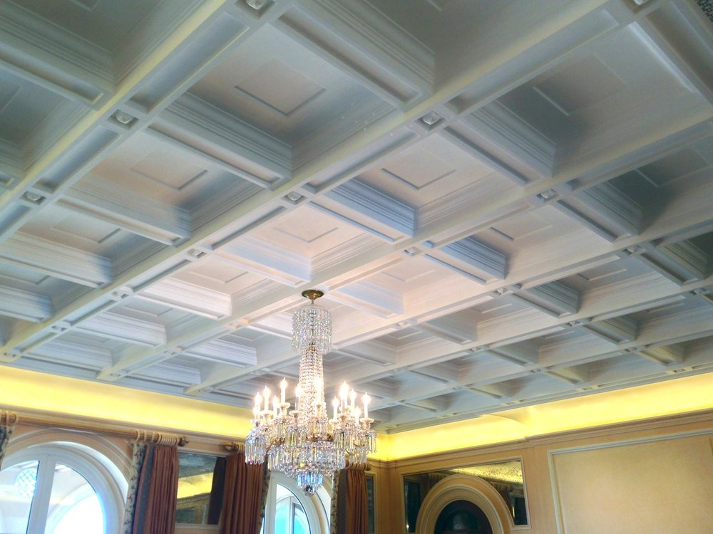 A beautifully designed coffered ceiling