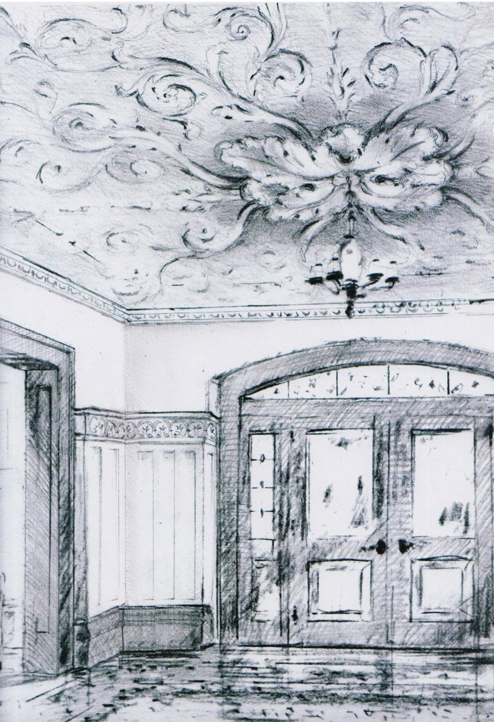 Preliminary sketch for an entryway with an ornamental ceiling, crown mouldings, and a wall finish.