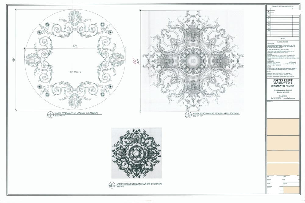 Developed Drawings for a ceiling medallion (blank out everything but fra)