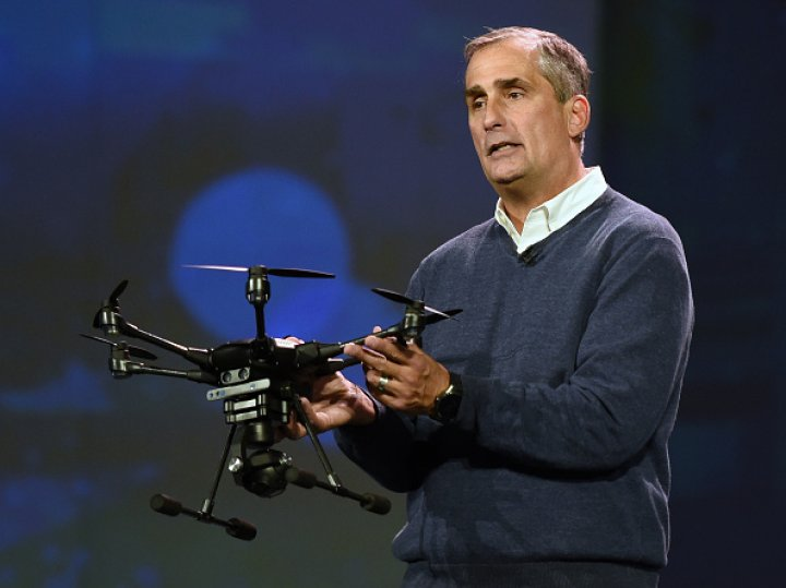 Intel Corp CEO Brian Krzanich displays the Yuneec Typhoon H drone at CES 2016 at The Venetian Las VegasEthan Miller/Getty Images
