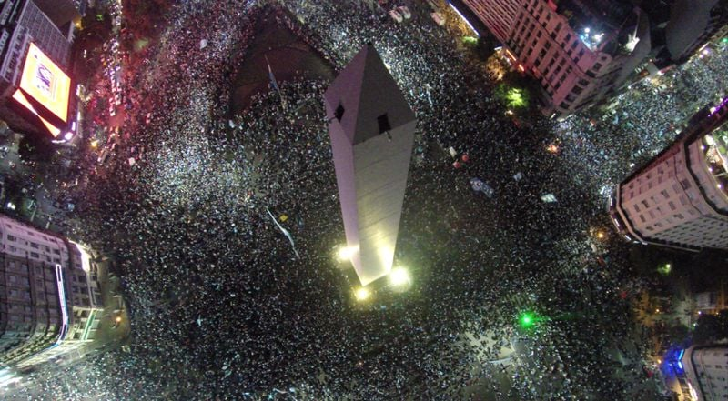 High above the obelisk in Buenos Aires, Argentina, on New Year's Eve - By Charlieposada