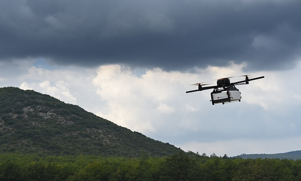 A prototype of a package delivery drone in France. Boris Horvat/AFP/Getty Images