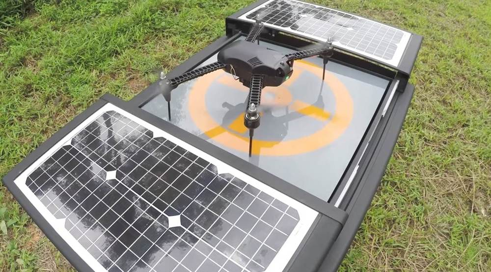 The Dronebox provides 24/7 autonomous drones by supplying an automated recharging and storage station that can be left unattended for months at a time