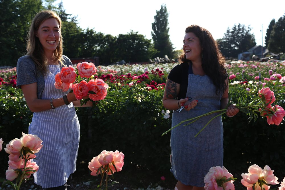 Erin and I at North Field Farm by the Canadian border. Geraldine grows over 80 varieties of Peonies!  Photo by Erin's husband, Chris.