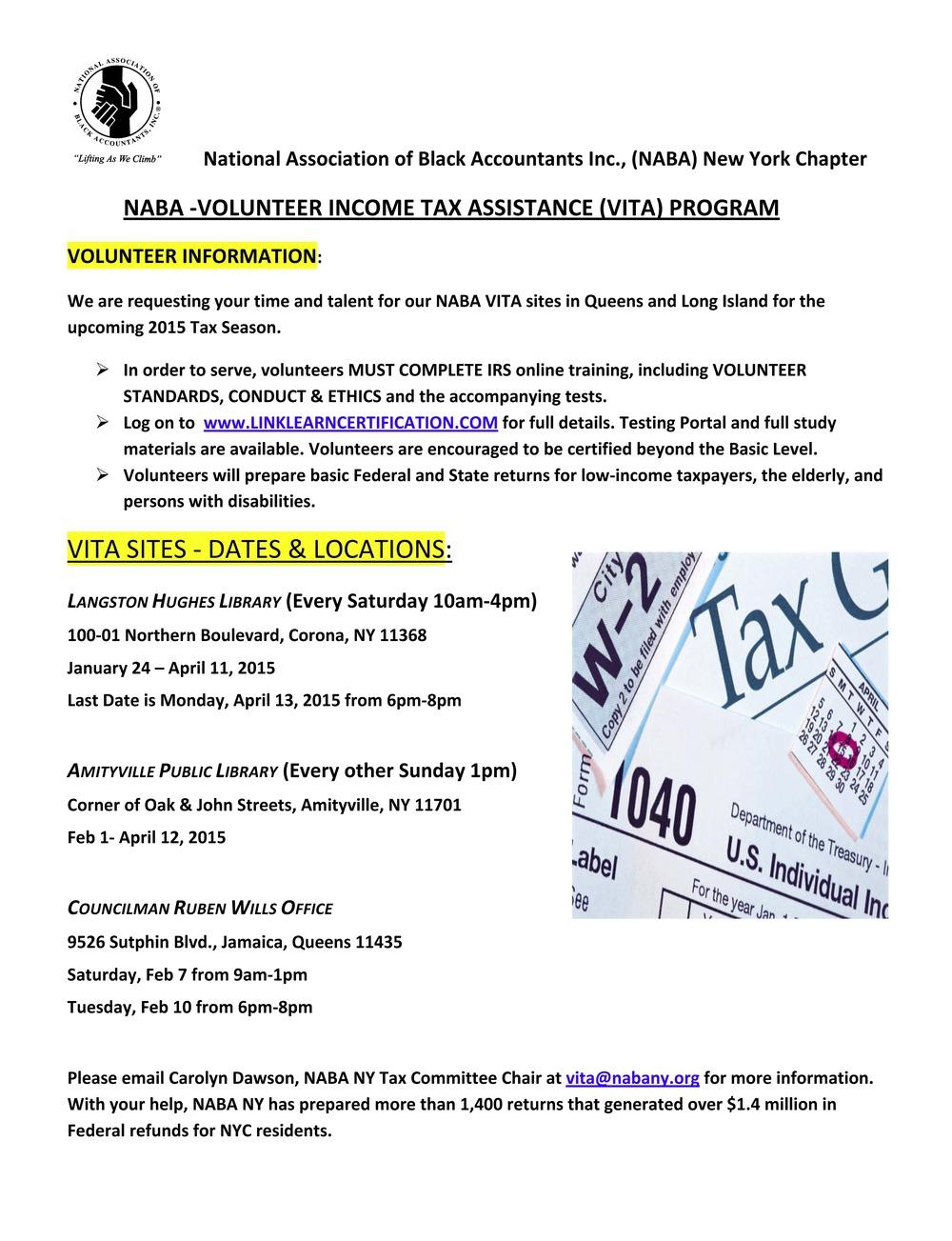 Naba volunteer income tax assistance vita program naba ny naba volunteer income tax assistance vita program 1betcityfo Choice Image