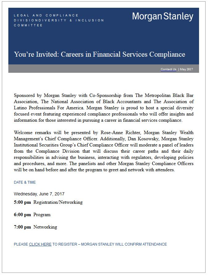 Careers in Financial Services Compliance, hosted by Morgan Stanley
