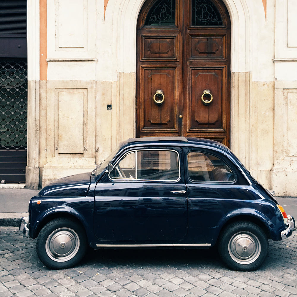 cute old blue car rome.jpg