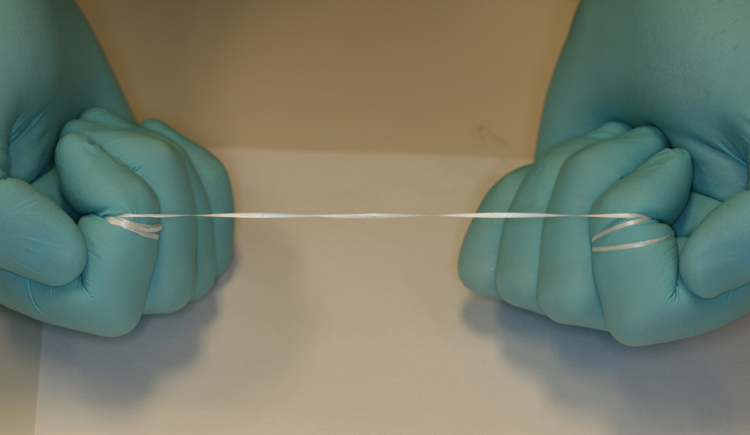 1.  Pull the floss tightly between two fingers.  Try either your index fingers or middle fingers.