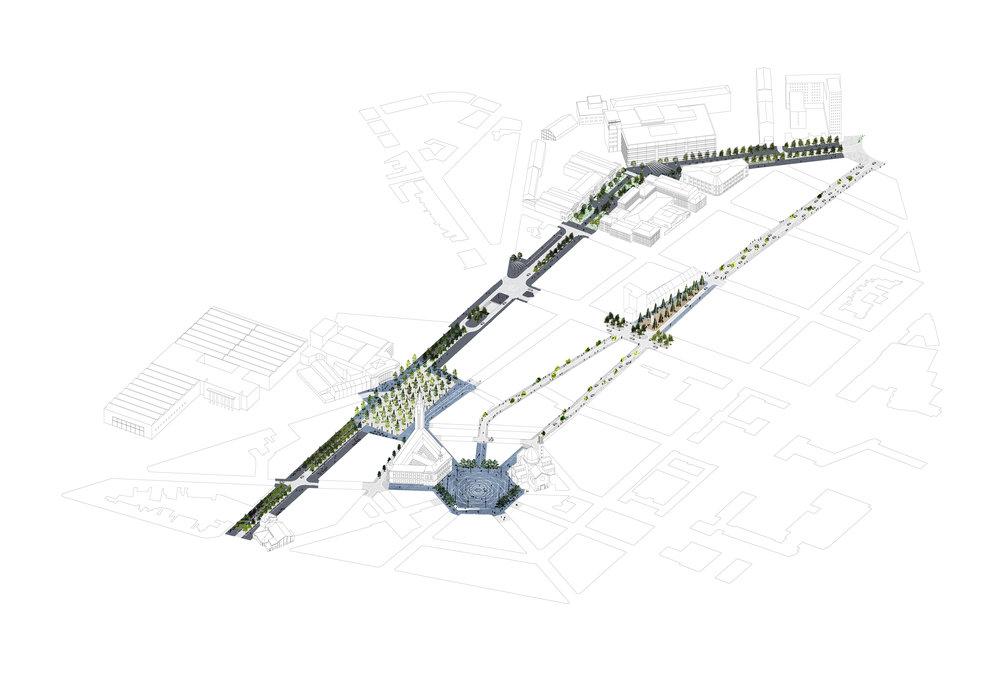 Espaces publics de la Ville-Haute de Charleroi Image :Bureau Bas Smets