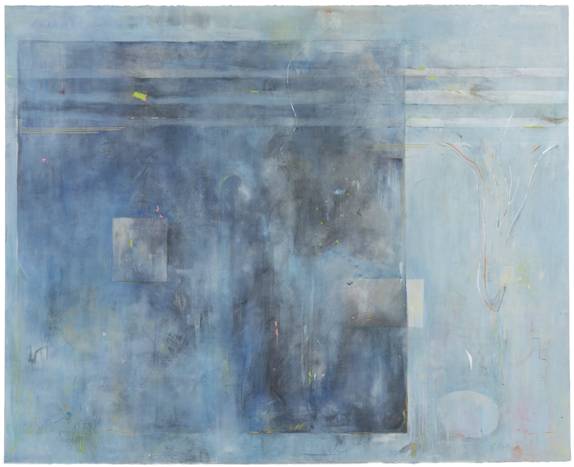 The Edge of Blue, 2014, 52 x 64 inches, acrylic, colored pencil, graphite & ink on 300# paper.