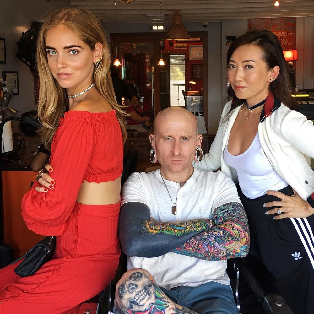 Brian Keith Thompson, Body Electric Tattoo. Also pictured, Chiara Ferragni (L)