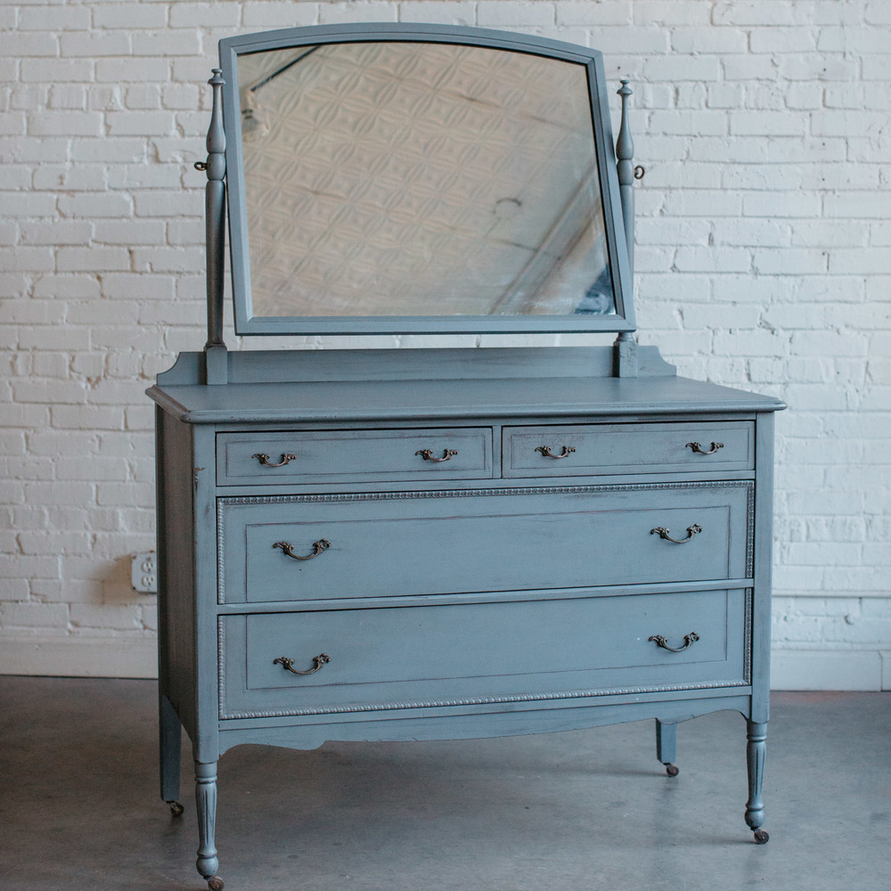 grey distressed dresser with mirror