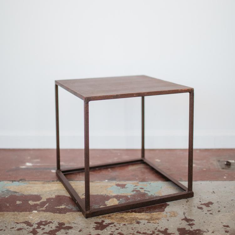 square metal frame side table