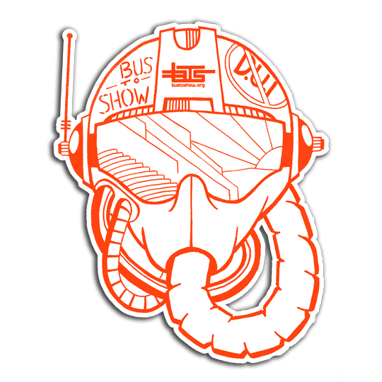 BTS TIME TRAVEL PILOT HELMET STICKER (FREE WITH DONATION OF $5 OR MORE)  Designed for Bus to Show by John Stryker.