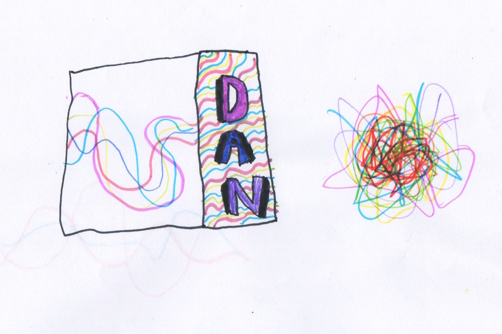 Design idea: Using scrambled lines with vibrant colours, or scrambled lines which are given a 'sense of order' by DAN.