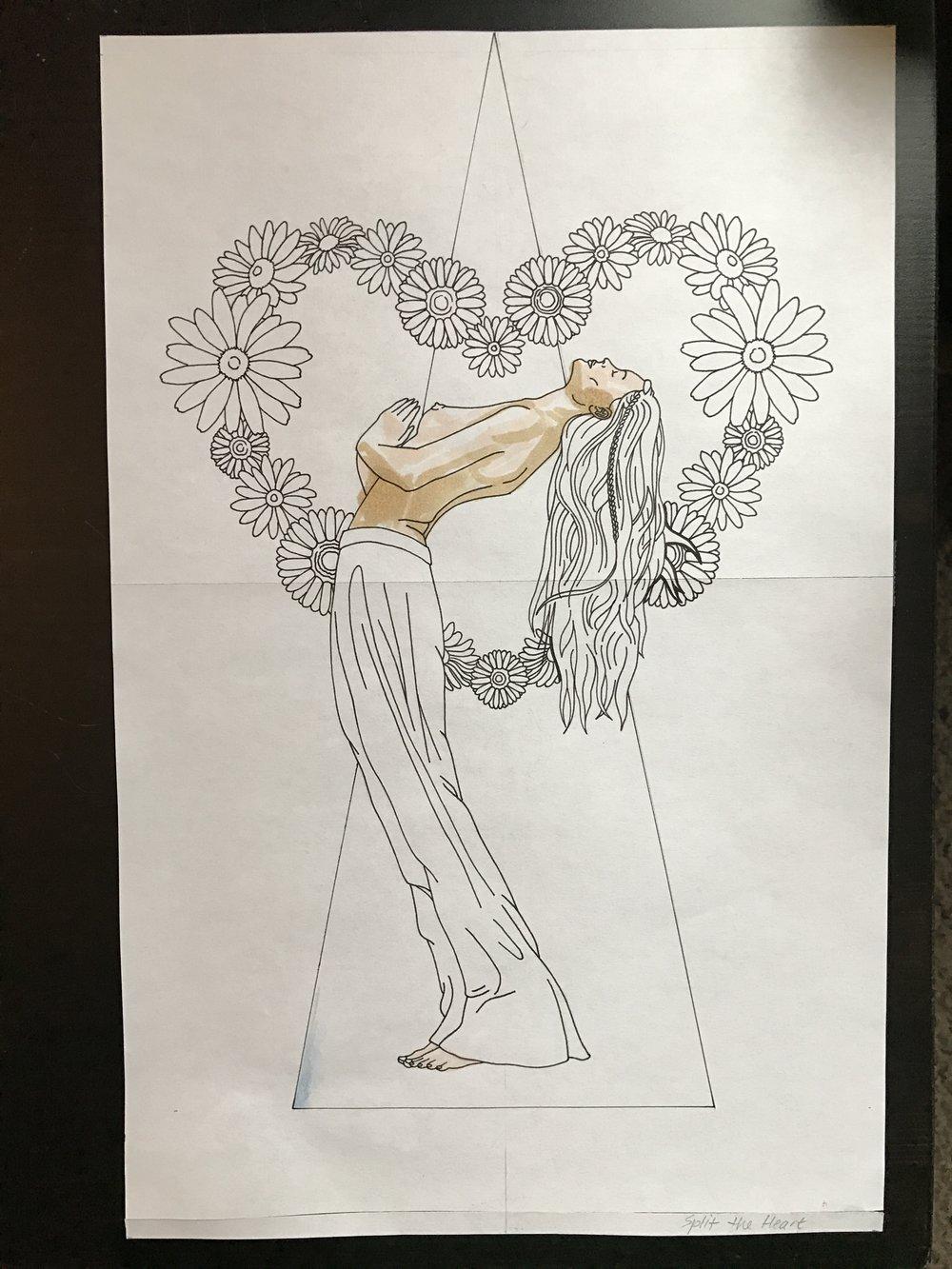 Nikki Dance_Split The Heart ink outline