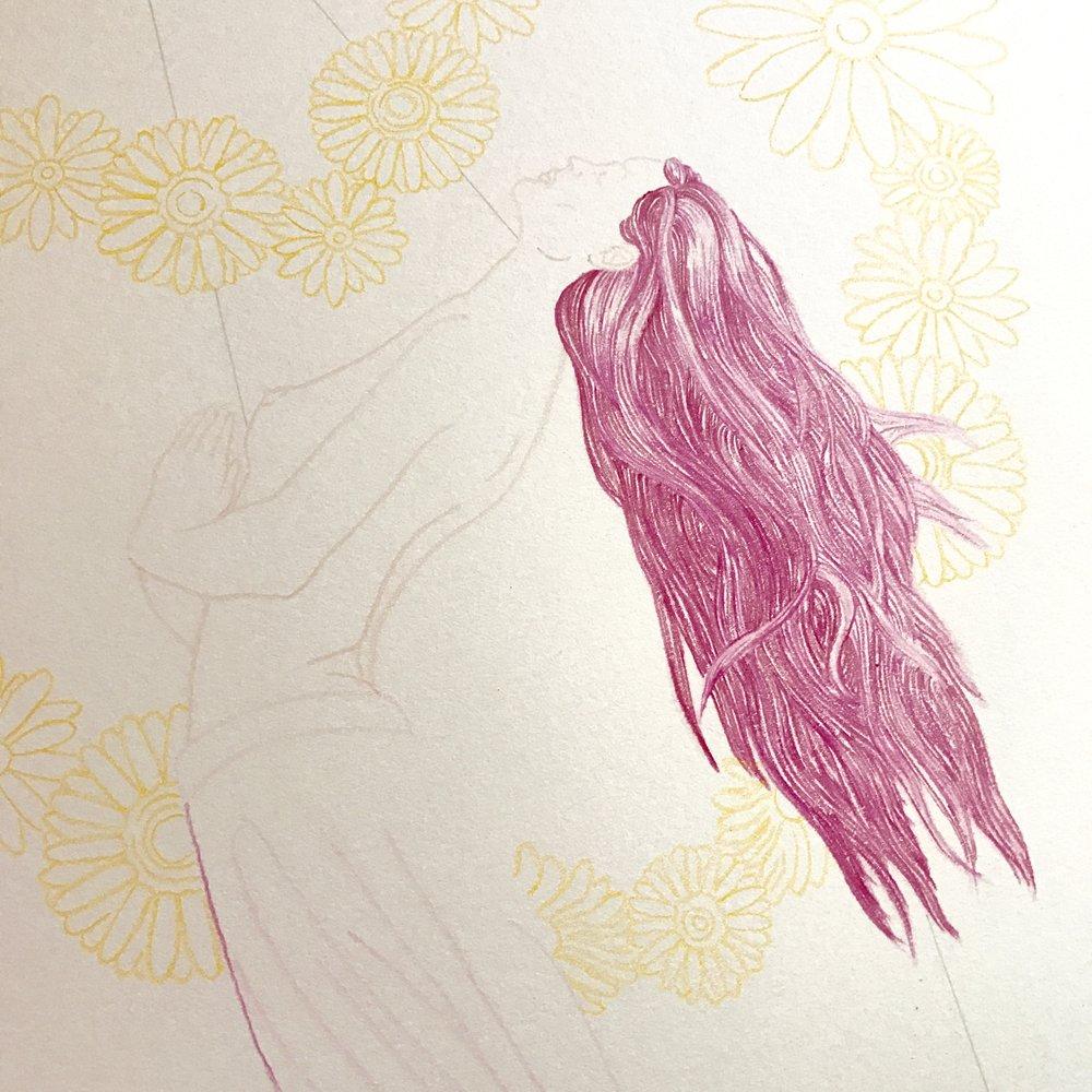 Nikki Dance_Split The Heart_color pencil outline closeup