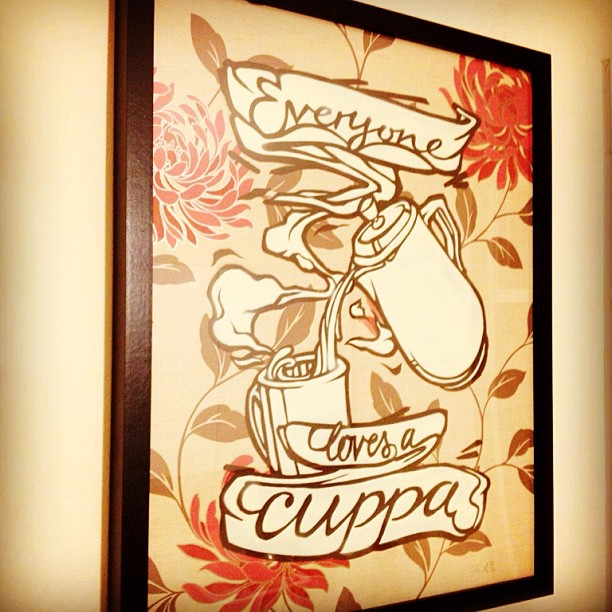 Everyone loves a cuppa by @as_one_arts hanging proud in the #TEAUNIT #TEAROOM ... #TEATEAM #ILOVETEA #TEA #CUPPA #TEAPOT