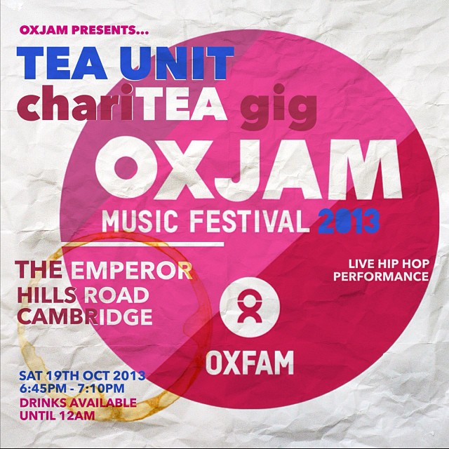 @itsteaunit LIVE chariTEA gig for @OxjamCambridge at @TheEmperorPub THIS SAT 19TH OCT! All proceeds go to @Oxfam