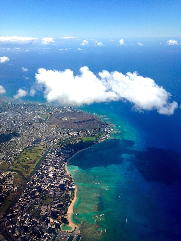 Flying in over Diamond Head