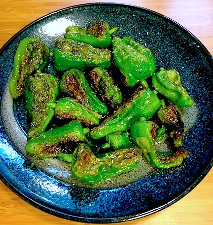 Cast iron seared padron peppers