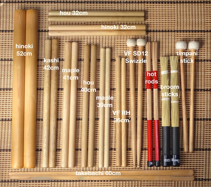 Taiko sticks labeled