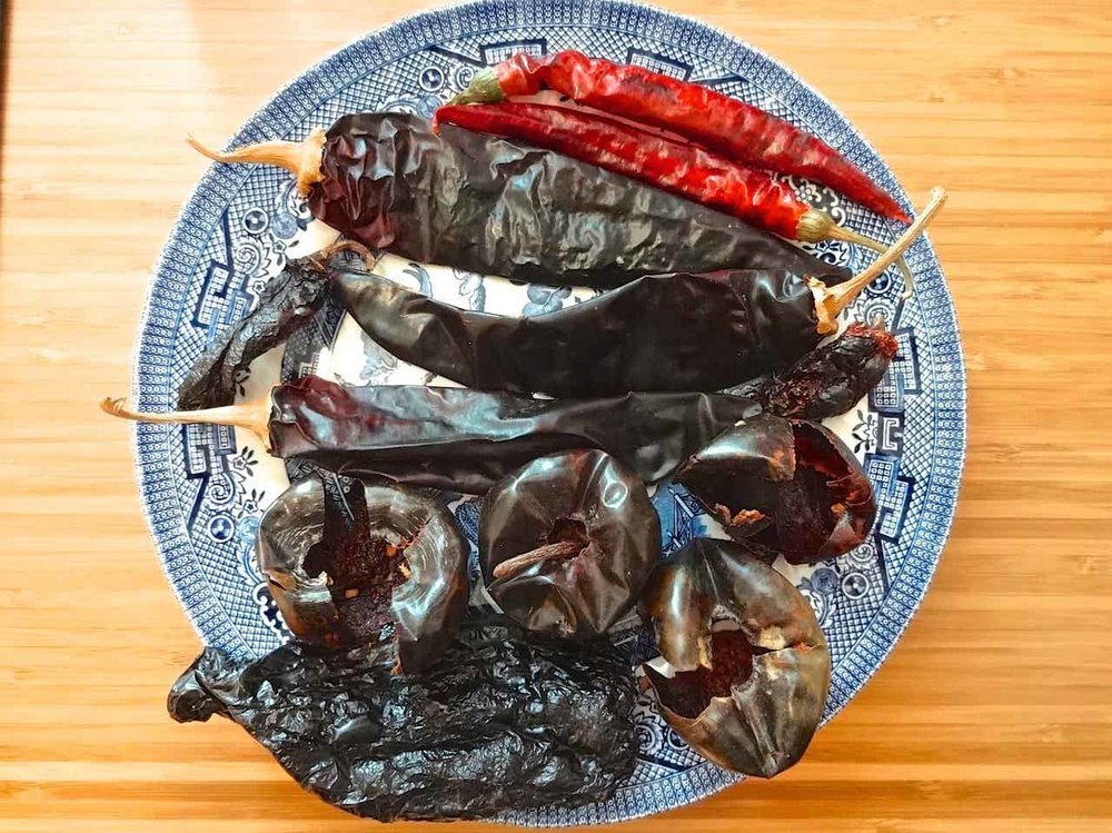 dried whole chiles - dry your own or purchase from a quality store