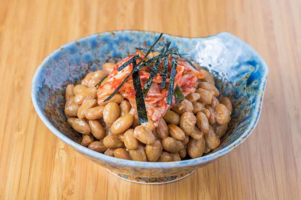 Natto with kimchi and nori