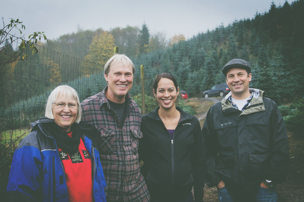 From left to right: Barb, John and Sophia at Christmas Hills Tree Farm with Gabriel Maki - Swansons Nursery buyer