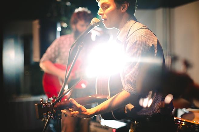 Brian Bergeron singing with band.