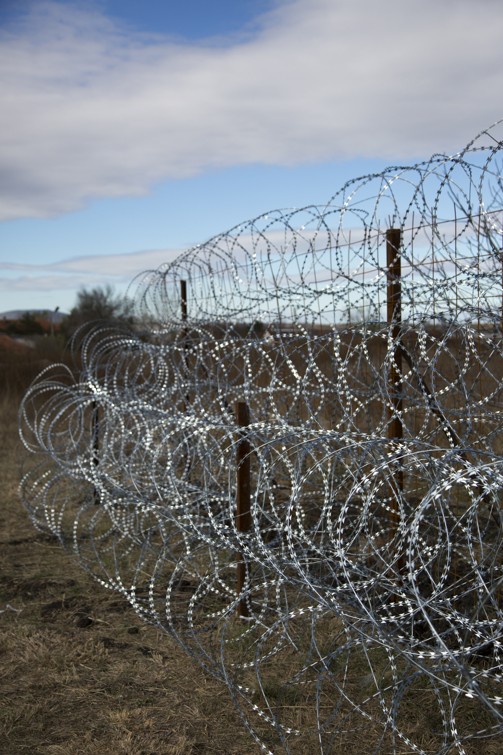 A prototype of the fence Bulgaria is building on the 'green border' area where thousands of migrants have crossed into the EU over the last year.