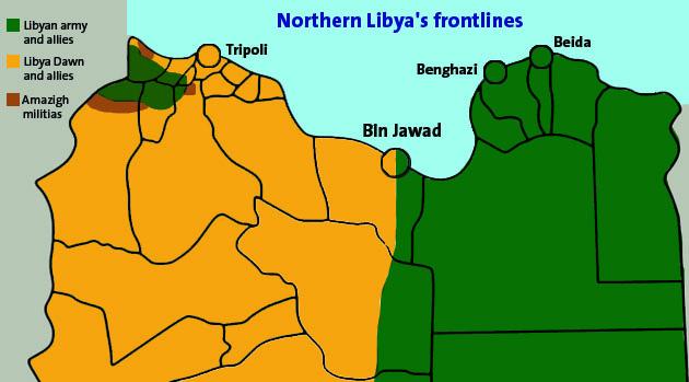 تنقسم ليبيا إلى نصفين تقريباً، على الرغم من وجود جيوب قتال في جميع أنحاء البلاد