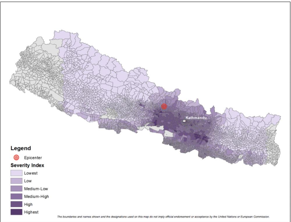 Indice de gravité du séisme au Népal – Version4, 30avril