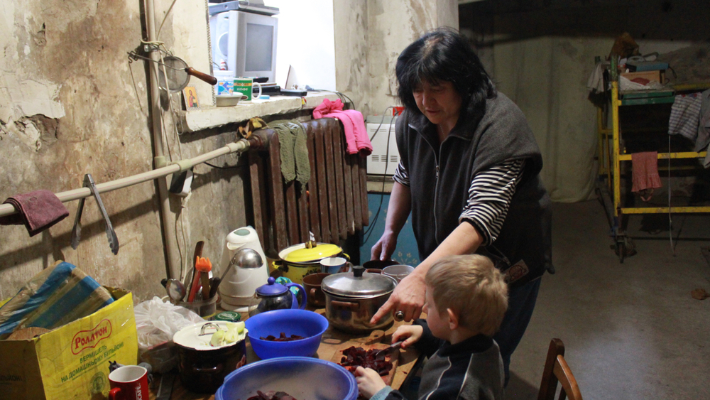 Families spent the winter months living in underground shelters