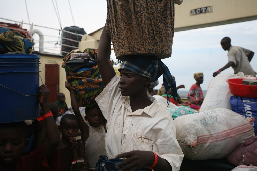 A Burundian refugee prepares to disembark from the MV Liemba shortly after it docked in Kigoma, Tanzania.