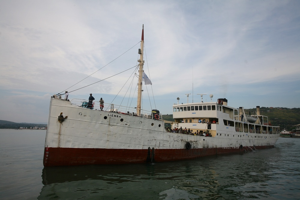 The MV Liemba draws into port at Kigoma, Tanzania, on Tuesday 19th April with 600 Burundian refugees aboard on 19th May 2015.