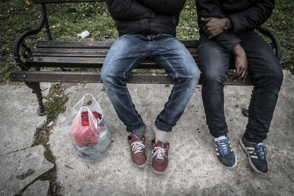 Asylum seekers from Nigeria just arrived in Belgrade withonly a plastic bag and their clothes. They had to abandon theirbackpacks in Macedonia when they escaped theirkidnappers.