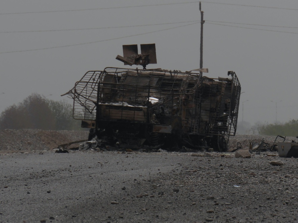 A UAE vehicle destroyed by a land mine in Green City district of Aden, Yemen.